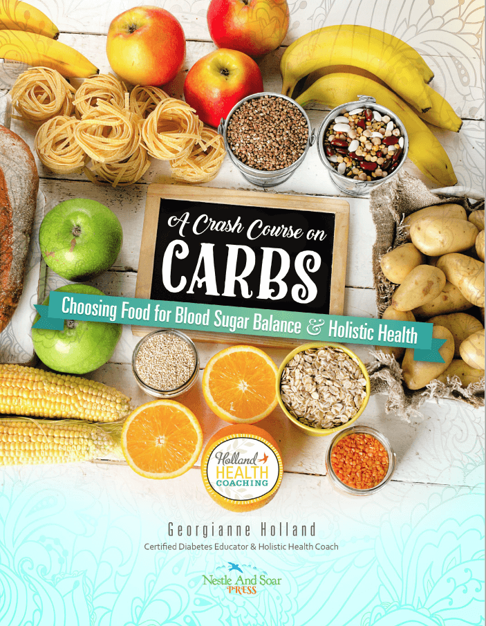 The cover of the booklet, A Crash Course on Carbs that discusses carbohydrates, the glycemic index and the body.