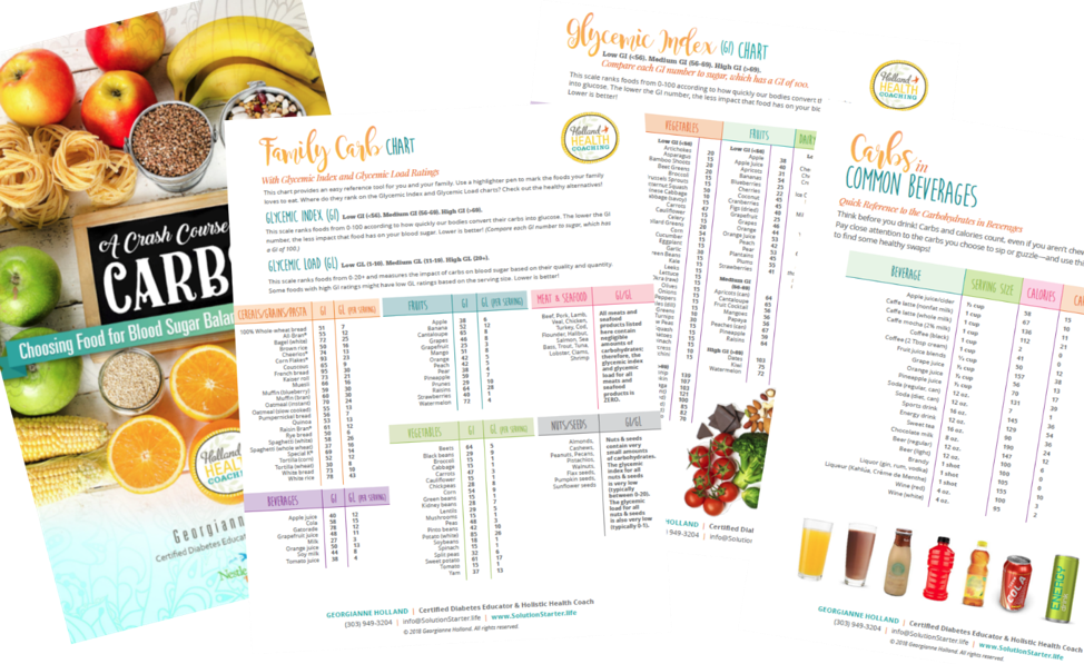 Pages from the Crash Course on Carbs booklet that explains how carbohydrates work in the body and affects blood sugar levels.
