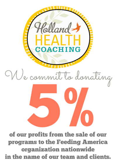 Holland Health Coaching logo paired with a 5% sign to show the contribution made to the Feeding American Network.